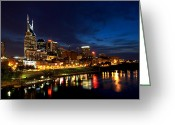Reflection Greeting Cards - Nashville Skyline Greeting Card by Mark Currier