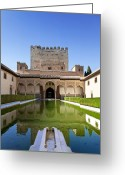 Andalucia Greeting Cards - Nasrid Palace from fish pond Greeting Card by Jane Rix