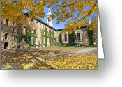 Hall Photo Greeting Cards - Nassau Hall with Fall Foliage Greeting Card by George Oze