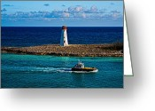 Ocularperceptions Greeting Cards - Nassau Harbor Lighthouse Greeting Card by Christopher Holmes