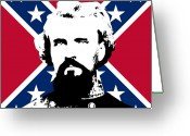 Civil Greeting Cards - Nathan Bedford Forrest and The Rebel Flag Greeting Card by War Is Hell Store