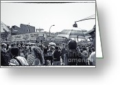 Nathans Greeting Cards - Nathans Crowd in Coney Island 1 Greeting Card by Madeline Ellis
