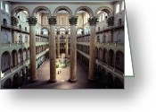 Of Buildings Greeting Cards - National Building Museum Interior Greeting Card by Sisse Brimberg