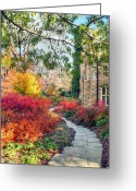 Washington D.c. Tapestries Textiles Greeting Cards - National Cathedral Path Greeting Card by Mitch Cat