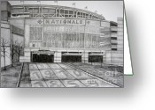 Juliana Dube Drawings Greeting Cards - Nationals Park Greeting Card by Juliana Dube