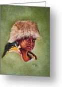 Capote Greeting Cards - Native American boy Greeting Card by Mahto Hogue