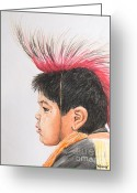 Little Boy Pastels Greeting Cards - Native American Boy with Headdress Greeting Card by Kate Sumners
