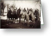 Headdress Greeting Cards - Native American Chiefs Greeting Card by Granger