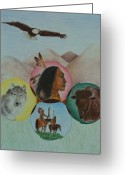 Native American Indians Drawings Greeting Cards - Native American Circle of Life Greeting Card by Jessica Hallberg