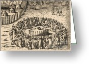 Ceremony Greeting Cards - Native American Funeral, C. 1500s Greeting Card by Photo Researchers