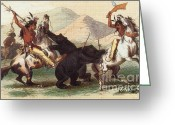 Indigenous American Greeting Cards - Native American Indian Bear Hunt, 19th Greeting Card by Photo Researchers