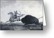 Indigenous American Greeting Cards - Native American Indian Buffalo Hunting Greeting Card by Photo Researchers