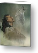 Indian Greeting Cards - Native American Indian Greeting Card by Morgan Fitzsimons