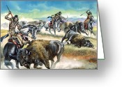 The American Buffalo Painting Greeting Cards - Native American Indians killing American Bison Greeting Card by Ron Embleton