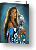 Card Art Greeting Cards - Native American maiden with falcon Greeting Card by Gina Femrite