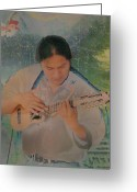 Intent Greeting Cards - Native American Musician Greeting Card by Lori Seaman