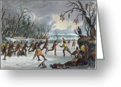 Player Greeting Cards - Native Americans: Ball Play, 1855 Greeting Card by Granger