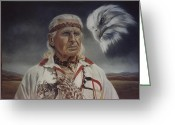 Photorealism Pastels Greeting Cards - Native Americans Greeting Card by Nanybel Salazar