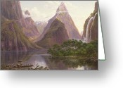Oceania Greeting Cards - Native figures in a canoe at Milford Sound Greeting Card by Eugen von Guerard
