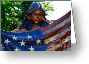Bronc Greeting Cards - Native Girl American Flag Greeting Card by Susanne Van Hulst