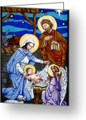 Jesus  Tapestries - Textiles Greeting Cards - Nativity at Valley Ranch Greeting Card by Joan Garcia