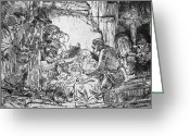 Adoration Greeting Cards - Nativity Greeting Card by Rembrandt 