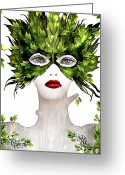 20-30 Mixed Media Greeting Cards - Natural Women Greeting Card by Yosi Cupano