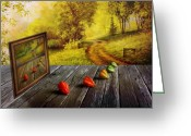 Photomanipulation Digital Art Greeting Cards - Nature Exhibition Greeting Card by Veikko Suikkanen