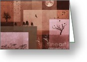 Layer Digital Art Greeting Cards - Nature in Boxes Greeting Card by Jutta Maria Pusl