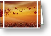 Red Autumn Trees Greeting Cards - Natures Art Greeting Card by Lourry Legarde