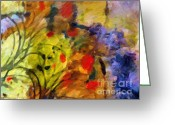 Abstract Flowers Greeting Cards - Natures Colorplay Greeting Card by Lutz Baar