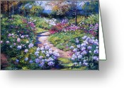 Sunlight Painting Greeting Cards - Natures Garden Greeting Card by David Lloyd Glover