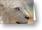 Big Cat Greeting Cards - Natures King Portrait Greeting Card by Carol Cavalaris