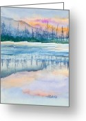 Bare Trees Painting Greeting Cards - Natures Mirror Greeting Card by Michelle Wiarda