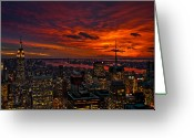 Manhattan Sunset Greeting Cards - Natures Palette Greeting Card by Neil Shapiro