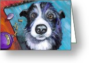 Naughty Greeting Cards - Naughty Border Collie Greeting Card by Dottie Dracos