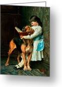 Book Greeting Cards - Naughty Boy or Compulsory Education Greeting Card by Briton Riviere