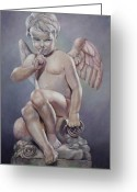 Greek Sculpture Painting Greeting Cards - Naughty Cupid Greeting Card by Geraldine Arata