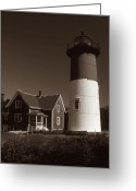 Cape Cod Mass Photo Greeting Cards - Nauset Lighthouse Greeting Card by Skip Willits