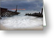 Wreck Greeting Cards - Nautical Skeleton Greeting Card by Mike  Dawson