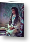 Beautiful Woman Greeting Cards - Navajo Beauty Greeting Card by Jean Hildebrant