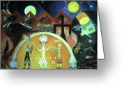 Spider Rock Art Greeting Cards - Navajo Gods Dance the Creation of the World Greeting Card by Willoughby  Senior