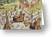 Galleon Greeting Cards - Naval Battle between the Portuguese and French in the Seas off the Potiguaran Territories Greeting Card by Theodore de Bry
