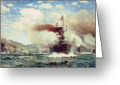 Frigate Greeting Cards - Naval Battle Explosion Greeting Card by James Gale Tyler