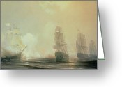 Engagement Painting Greeting Cards - Naval Battle in Chesapeake Bay Greeting Card by Jean Antoine Theodore Gudin