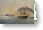Sky Painting Greeting Cards - Naval Battle of the Strait of Shimonoseki Greeting Card by Jean Baptiste Henri Durand Brager