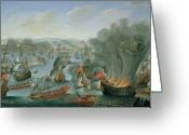 Aflame Greeting Cards - Naval Battle with the Spanish Fleet Greeting Card by Pierre Puget