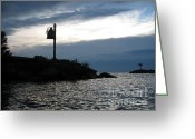 Safe Haven Greeting Cards - Navigational marker at New Buffalo harbor Greeting Card by Purcell Pictures