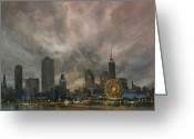 Chicago Landmarks Greeting Cards - Navy Pier Ferris Wheel Chicago Greeting Card by Tom Shropshire