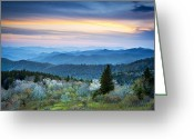 Blossoms Greeting Cards - NC Blue Ridge Parkway Landscape in Spring - Blue Hour Blossoms Greeting Card by Dave Allen